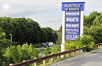 Maine Commercial & Retail Photography - Shopping Center Mall Sign by Highway